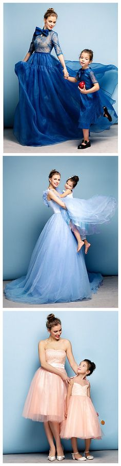 Very lovely mom & daughter couple special occasion dresses. Every little girl wants her mom's closet!