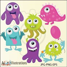 Monster Fun Cute Digital Clipart for Card Design, Scrapbooking, and Web Design. $5.00, via Etsy.