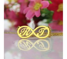 Infinity Initial Name Necklaces in Gold Plated Silver