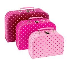 Pink polka dot suitcase trio