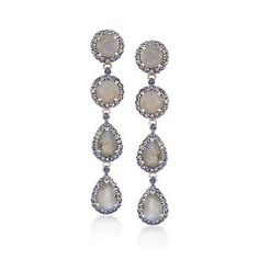 Labradorite and 2.25 ct. t.w. Iolite Earrings in Sterling Silver