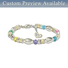 """Birthstone Bracelets for Moms - Beautiful bracelet features up to 6 children's name charms and birthstone beads.  Dangling heart-shaped charm is engraved, """"My Family, My Joy""""."""