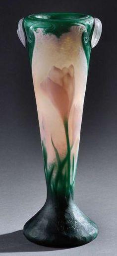 Daum Frères, Nancy, Wheel Carved Glass Vase.