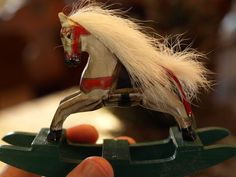 Very Nice Wooden Rocking Horse Ornament with Hair Mane & Tail-D