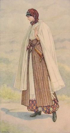 85 - Peasant Woman's Dress (Cyprus, Karpaci) 1930 lithograph on paper after original watercolour- Nicolas Sperling Greek Traditional Dress, Traditional Outfits, Gypsy Costume, Folk Costume, Greek Royalty, Costume Collection, Greek Art, Costume Shop, Empire Style