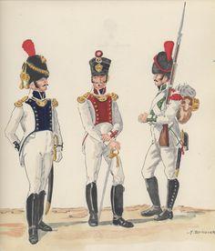 Naples; 10th Line Infantry, Grenadier Officer, 11th Line Infantry, Fusilier Officer & 12th Line Infantry, Grenadier, 1813-14 by H.Boisslier