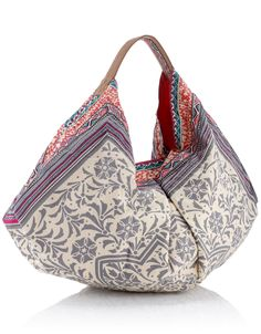 Printed Tile Slouchy Banana Bag | Cream | Accessorize