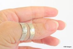 Adjustable hammered ring silver tone unisex thumb by pzmdesigns, $27.00