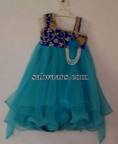 Blue Frills Frock with Work - Indian Dresses