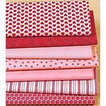 Lot de 7 coupons patchwork 'Anna', rose/rouge