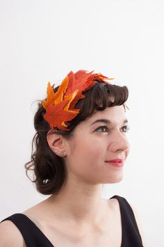 Vintage 1950s Fascinator - 50s Hat - Autumn Maple Leaves. $40.00, via Etsy.