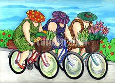 The Girls on the Road - Carolyn Stich Studio by DeeDeeBean Illustrations, Illustration Art, Plus Size Art, Fat Art, Bicycle Art, Art Impressions, Art Abstrait, Female Art, Cool Art
