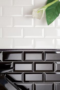 Black and White Kitchen Wall Tiles. Black and White Kitchen Wall Tiles. Metro Tiles Kitchen, Metro Tiles Bathroom, Black Tile Bathrooms, White Kitchen Backsplash, Kitchen Wall Tiles, Porch Wall Tiles, 1920s Bathroom, Black Subway Tiles, Beveled Subway Tile