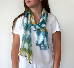 "Hand Painted Silk Scarf ""Shelly"" One of a Kind"