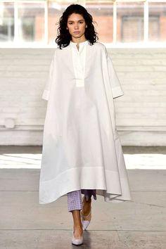 White Maxi Dress over Pants (Creators of Comfort S/S 2018)
