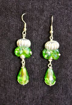 GREEN CRYSTAL CHANDELIER Earrings by anafili on Etsy, $10.00