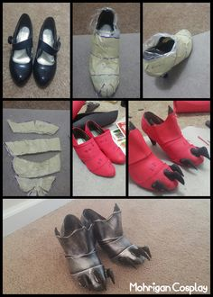 Armored Shoes My page: www.facebook.com/m.cosplay 1. Wrap the shoes with plastic…