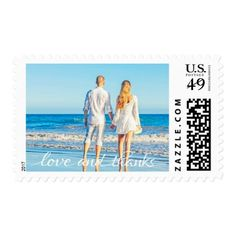 Simple Ocean Beach Couple Love and Thanks Postage - romantic wedding gifts wedding anniversary marriage party