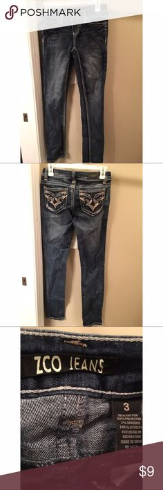 Barely Worn ZCO Blue Jeans ZCO Skinny Cut jeans in a size 3. Only worn a few times and is in perfect condition. Comes from a clean,Smoke free,pet free home. Feel free to make an offer or bundle with any other items! ZCO Jeans