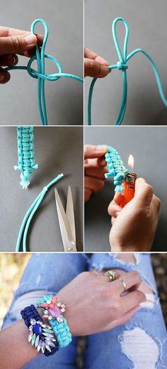 Jeweled Paracord Bracelet tutorial #Bracelets