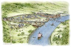 Conjectural view of Medieval Newport drawn by Anne Leaver with the guidance of Bob Trett