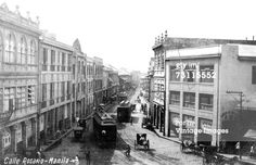 Manila, Philippines, early Rosario Street, www.philippines-a… President Of The Philippines, Treaty Of Paris, Philippine Holidays, The Spanish American War, Filipino Culture, Waves Wallpaper, Filipiniana, Manila Philippines, Historical Pictures