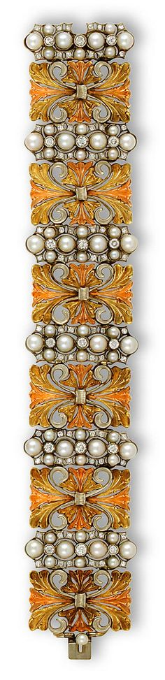 An eighteen karat tricolor gold, cultured pearl and diamond bracelet, Buccellati  the wide bracelet comprising six openwork tricolor-gold panels, each with cultured pearl, single and round brilliant-cut diamond elongated cluster spacers; signed Buccellati; estimated total diamond weight: 3.50 carats; length: 7in.