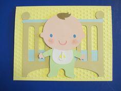 Baby and crib birthday card
