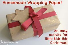 homemade wrapping paper and gift tags