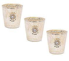 Treasures by Shabby Chic Set of 3 Mercury Glass Votives