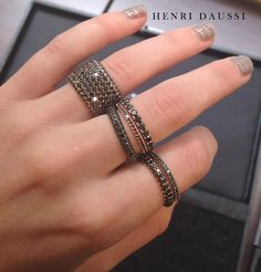 Henri Daussi stackable black diamond bands (With images) Black Jewelry, Jewelry Rings, Fine Jewelry, Skull Jewelry, Jewellery, Black Diamond Jewelry, Hippie Jewelry, Pretty Rings, Beautiful Rings