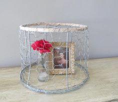Vintage Metal Lamp shade, Vintage Metal Crochet Lamp Shade, Chicken wire, by oZdOinGItagaiN http://shabify.com/s/vintage-metal-lamp-shade-vintage-metal-crochet-lamp-shade-chicken-wire-by-ozdoingitagain/