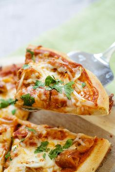 Chicken Tikka Masala Pizza - cheesy pizza topped with delicious Indian chicken tikka masala. The best homemade pizza recipe ever