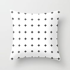 Black Plus on White Throw Pillow, black cross, black plus print, monochrome decor trend, plus trend print, black & white decor, swiss cross, trend pillow