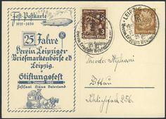 Germany, German Empire, Deutsches Reich 1936, 25 Jahre Leipziger Briefmarkenbörse, 3 Pfg.-GA-Privatpostkarte, mit Beifrankatur, gelaufen, ohne Inhalt (Mi.-Nr.PP122C2101). Price Estimate (8/2016): 10 EUR. Unsold.