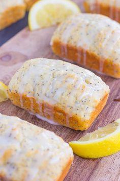 These Mini Lemon Poppy Seed Loaves are light, moist, and full of lemon flavor. These Mini Lemon Loaf Bread Recipe, Loaf Recipes, Baking Recipes, Mini Loaf Cakes, Mini Bread Loaves, Lemon Dessert Recipes, Lemon Recipes, Lemon Poppy Seed Loaf, Pampered Chef Recipes