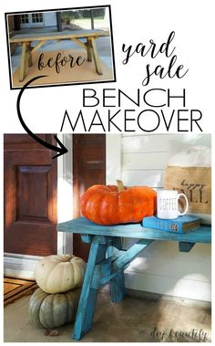A yard sale bench gets a fresh punch of color with a quick paint makeover.