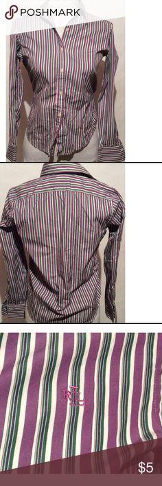 Lauren Ralph Lauren Top Size Petite Small 100% Cotton. Length 28 bust 30 Lauren Ralph Lauren Tops Button Down Shirts