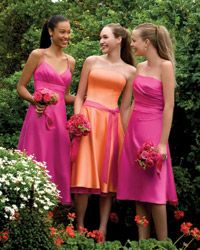 Orange Hot Pink Perfect Dresses For A Tropical Wedding Bridesmaids Bridesmaid
