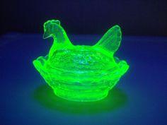 Salt Cellar Uranium Vaseline Glass