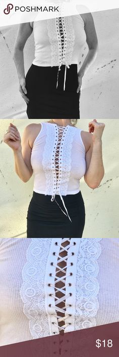 SEXY WHITE lace up tank TOP CROPPED S/M Sexy white ribbed tank top, but with a sexy twist!  cropped and lace front the whole way down. So perfect t for the summer! Sz small. j22 Tops Tank Tops