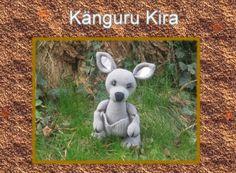 Hallo hier ist Kira, nein nicht aus dem Zoo sondern aus dem weiten Australien zu uns gekommen. In ihren Beutel ist noch Platz, für einen süßen Fratz. Wer Australien liebt und auch Kängurus der kann sich Kira ganz einfach nachhäkeln.  Häkelanleitun