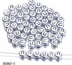 XMm Mixed White Round Plastic Acrylic Alphabet Letter Beads