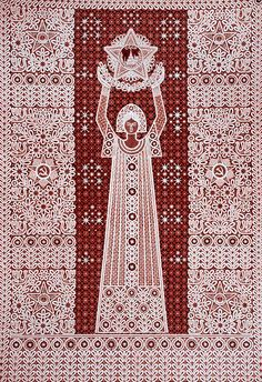 """Панно """"Праздник"""". Вологодское кружево, ручная работа, 1975 год. Автор: Галина Мамровская."""