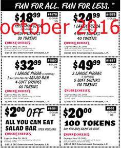 Printable Coupons: Chuck E Cheese Coupons