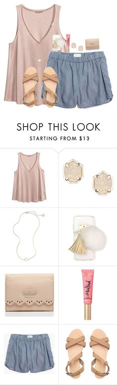 """Hi guys, I put a pic of my dress in the items, what do you guys think?"" by cora-g77 ❤ liked on Polyvore featuring H&M, Kendra Scott, Ashlyn'd, Kate Spade, Too Faced Cosmetics and Madewell"