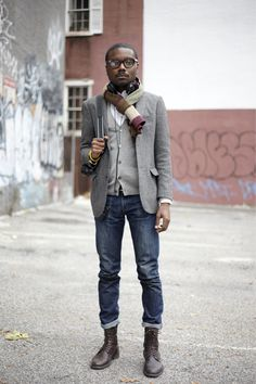 Menswear | Men's Fashion | Blazer | Jeans | Scarf
