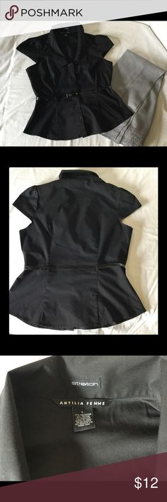 "A Black Dressy Top with Patent Leather belt. A cute black top with cap sleeves, collared plunging neckline and a patent leather belt at the waist. The size is Large, but fitted, chest measures 38"". Antila Femme Tops Blouses"
