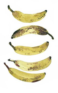 This watercolour painting of different angles of a banana has good black/brown markings and patches on some of the bananas. They are simple but effective splatters of the colour on top of the yellow to give them a more realistic look.