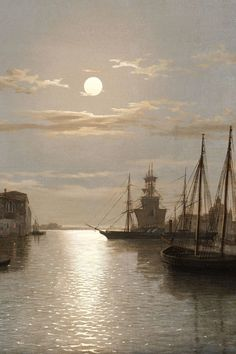 Venice with San Giorgio Maggiore in the moonlight (Detalle) , 1865, Henry Pether